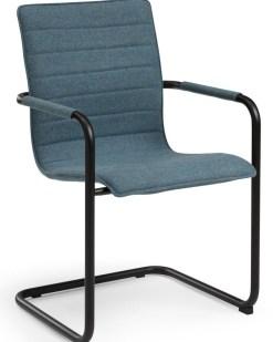 Visit 404 sledeframe vergaderstoel, zwart frame, petrol stof Bureaustoelen MKB