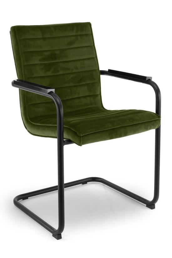 RRicky Chair slede frame vergaderstoel met zwart frame en Olive Green kleur velours stof, bakkelieten armleggers. Bureaustoelen MKB