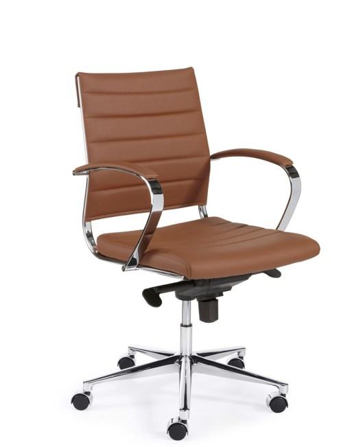 """Steel 1202, lage rug, met cognac eco leder chroom frame en onderstel """" Bureaustoelen MKB"""