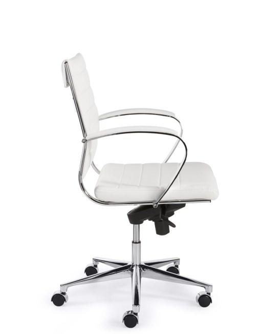 Steel 1202, lage rug, met wit eco leder chroom frame en onderstel | Bureaustoelen MKB