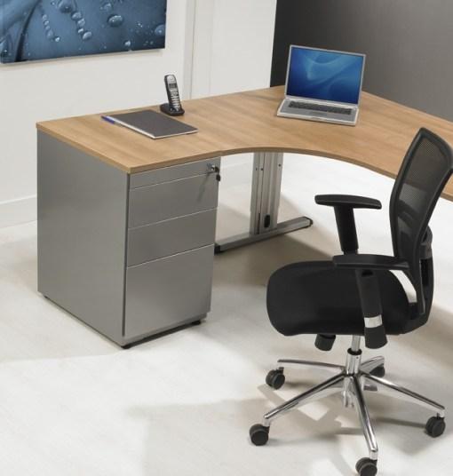 Ladeblok van 74 cm hoog met indeling; 1 x materiaal, lade, 2 laden 1 hangmappoen lade kleur alu Bureaustoelen MKB
