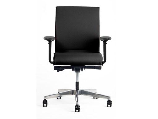 Ergo Seven NPR met aluminium kruisvoet, rug volledig gestoffeerd, zitting stof zwart Lucia   Bureaustoelen MKB