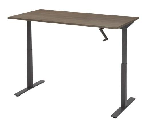 zit-sta bureau SL met zwart frame en noten blad.