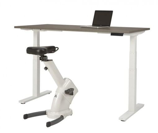 Office 117 zit-sta bureau, wit frame en Donker eiken blad