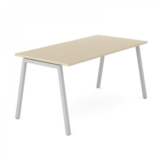 NOVA 74 O-poot, wit frame en licht eiken blad Narbutas | Bureaustoelen MKB