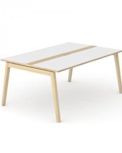 Nova Wood vergadertafel 160 x120 cm met wit blad en eiken gebeitst onderstel.Narbutas   Bureaustoelen MB