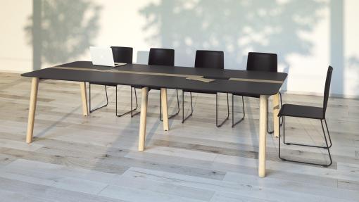 Nova woord vergadertafel met zwart blad en eiken gebeitste poten. Narbutas   Bureaustoelen MB