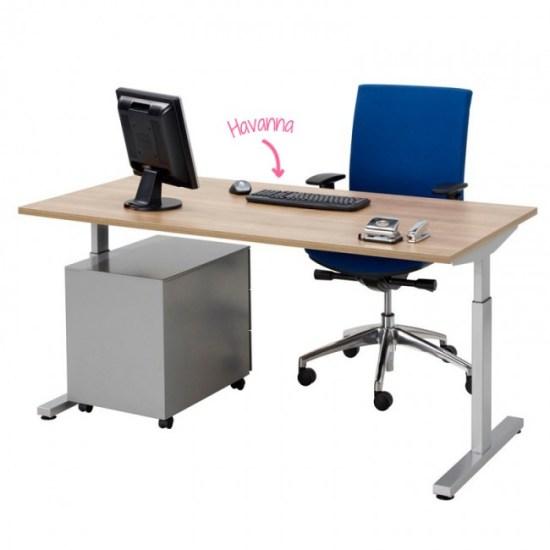 Pinta bureau met alu poot en ladeblok en havanna blad   Bureaustoelen MKB