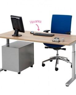 Pinta bureau met alu poot en ladeblok en havanna blad | Bureaustoelen MKB