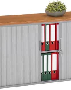 Roldeurkst 72,5 cm hoog, 120 cm breed, kleru aluminum, bovenblad Rodson Eiken | Bureaustoelen MKB