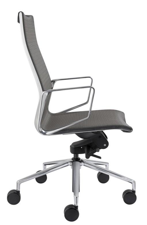 Directie stoel Baaz, met grijze mesh stoffering, alu gepolijst frame en kruisvoet. Bureaustoelen MKVB