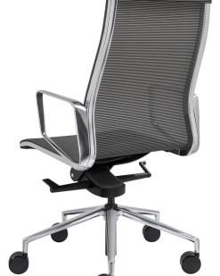 Directie stoel Baaz, met grijze mesh stoffering, alu gepolijst frame en kruisvoet. Bureaustoelen MKB