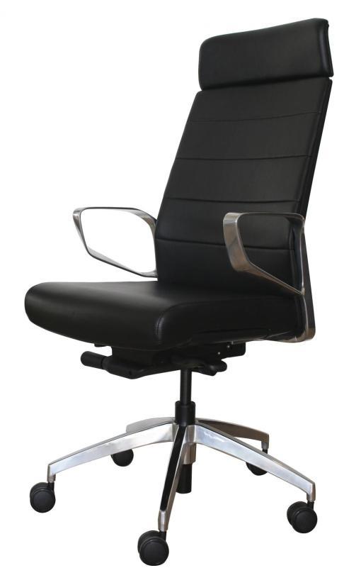 Dirk Teur bureaustoel in zwart leer en aluminium gepolijst frame. BUREAUSTOELEN MKB
