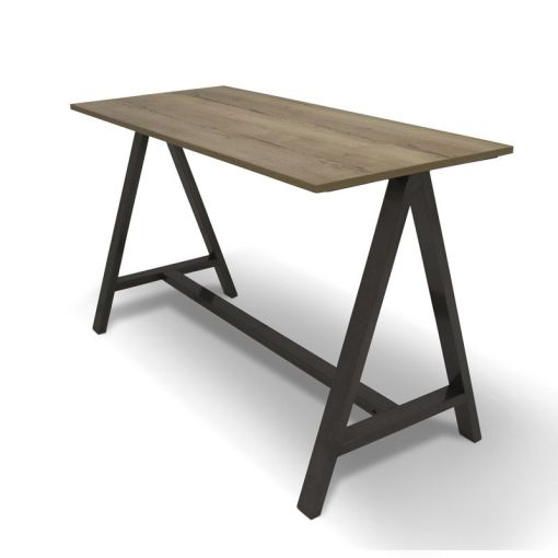 Statafel 2A, afmeting 180 x80 cm, frame zwart, blad midden Eiken. Bureaustoelen MKB