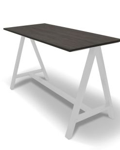 Statafel 2A | Blad bruin eiken onderstel wit Bureaustoelen MKB