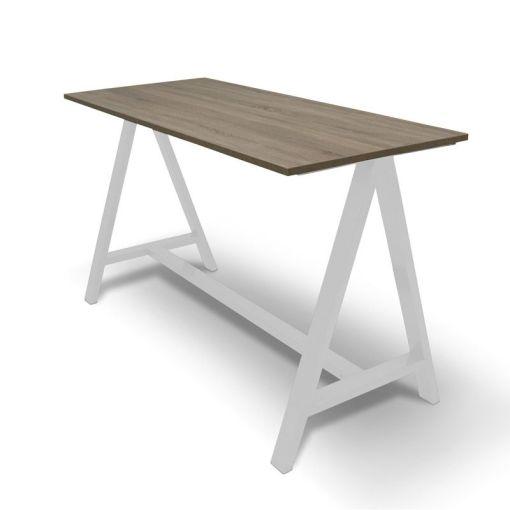 Statafel A | Blad midden Eiken onderstel wit. Bureaustoelen MKB