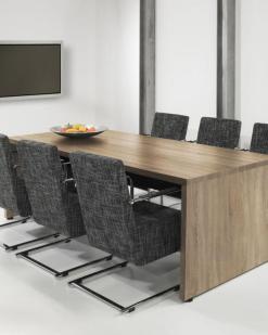 Vergader tafel Baas Rechthoek 220 x 100 cm Robson Eiken Bureaustoelen MKB