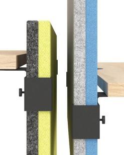 AK Modus , detail bevestiging twee kleurig scherm met hoge akoestische waarde. Bureaustoelen MKB