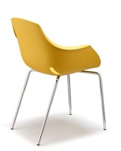 Ago Chair, achterkant, 4-poot chroom, Moderne-kuipstoel, stapelbaar in kleur geel. Bureaustoelen MKB