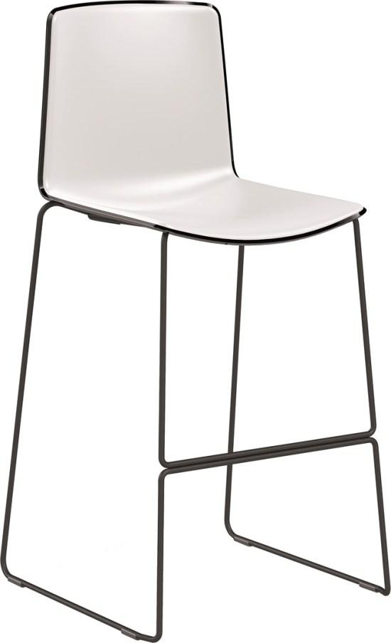 Tweet High, barstoel met sledeframe en tweekleurige zitschaal