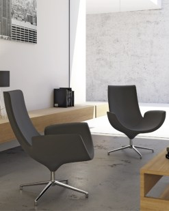 Beetle fauteuil gestofferde fauteuil met hoge rug, stof eco leer. Bureaustoelen MKB