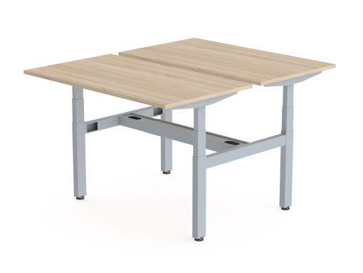 Flex Duo zit sta werkplek, eiken blad en alu frame. Bureaustoelen MKB