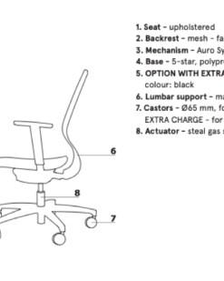 Technische specificaties TanYa Office. Bureaustoelen MKB