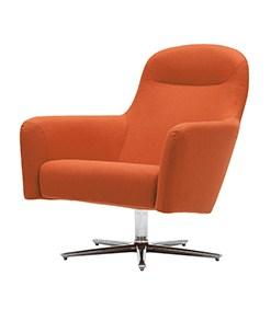 Havana fauteuil Low, oranje stof op kruisvoet. Bureaustoelen MKB