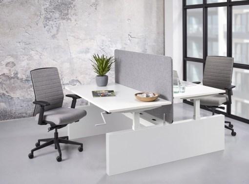 Max duo werkplek wang, wit frame, wit blad. Bureaustoelen MKB