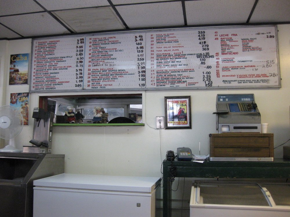 Morro Castle in Little Havana Menu Board