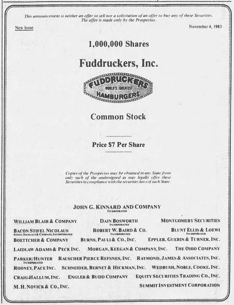 Fuddruckers Stock Certificate November 8, 1983