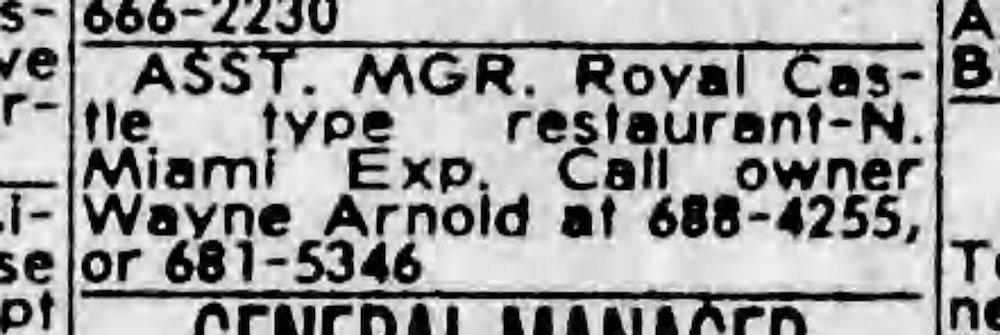 Arnold's Royal Castle Ad in the Miami Herald 8-28-82