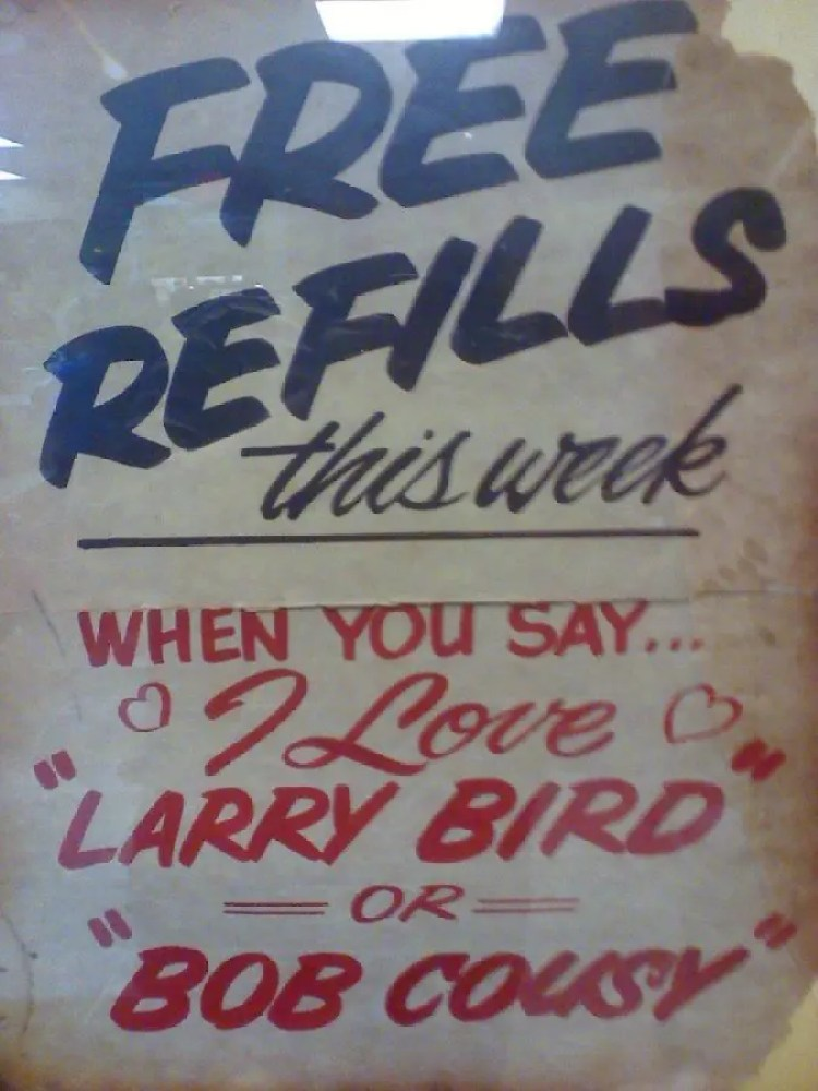 Arbetter Hot Dogs Free Refills Sign