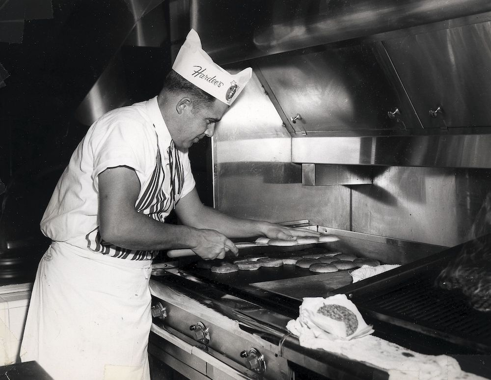 Hardee's grill man taking care of business in the early 1960s