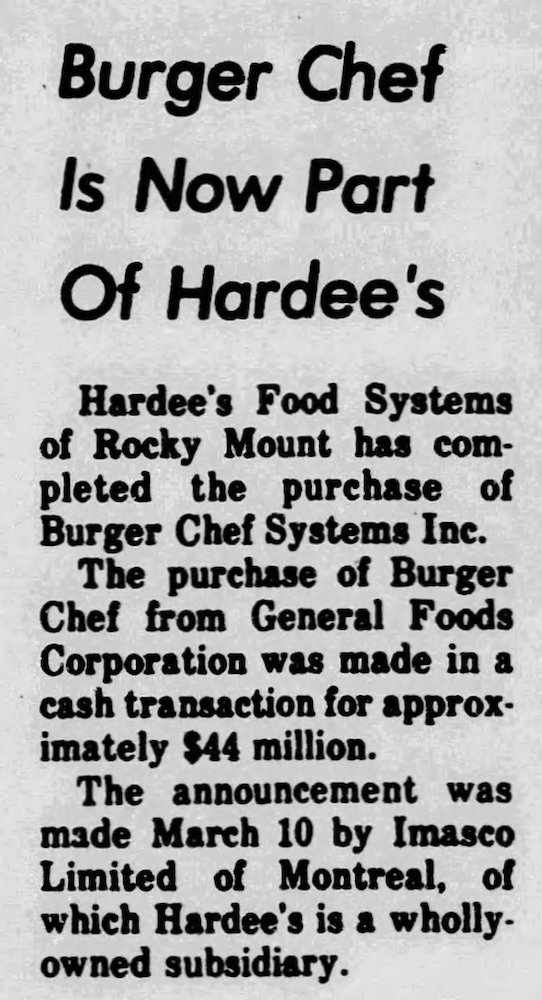 Hardee's & Burger Chef News in the Nashville Graphic March 18, 1982