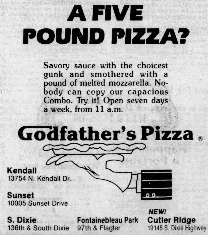 Godfather's Pizza ad in the Miami Herald 8-20-81