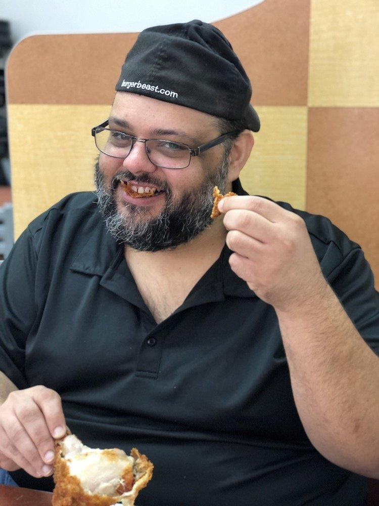 Freddy enjoying Pollo Campero