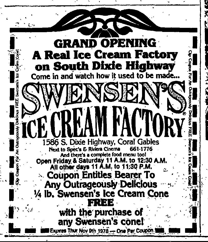 Swensen's Grand Opening in the Miami Herald November 5th, 1978
