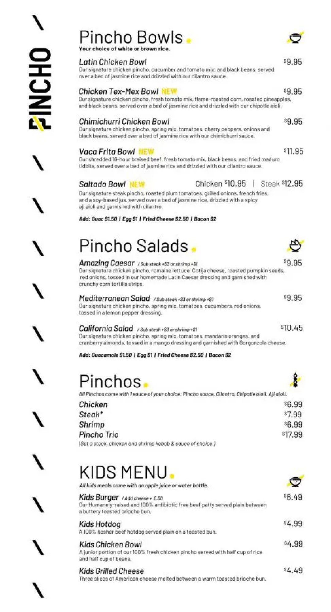 PINCHO Factory Menu back