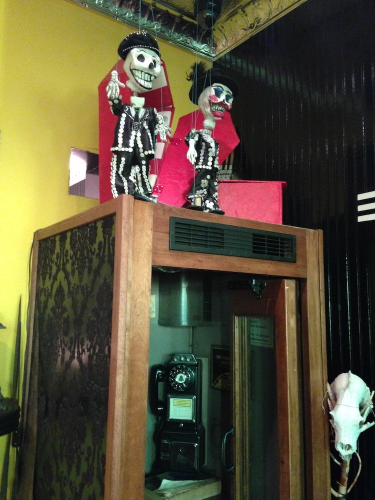 Phone Booth with Day of the Dead Marionettes