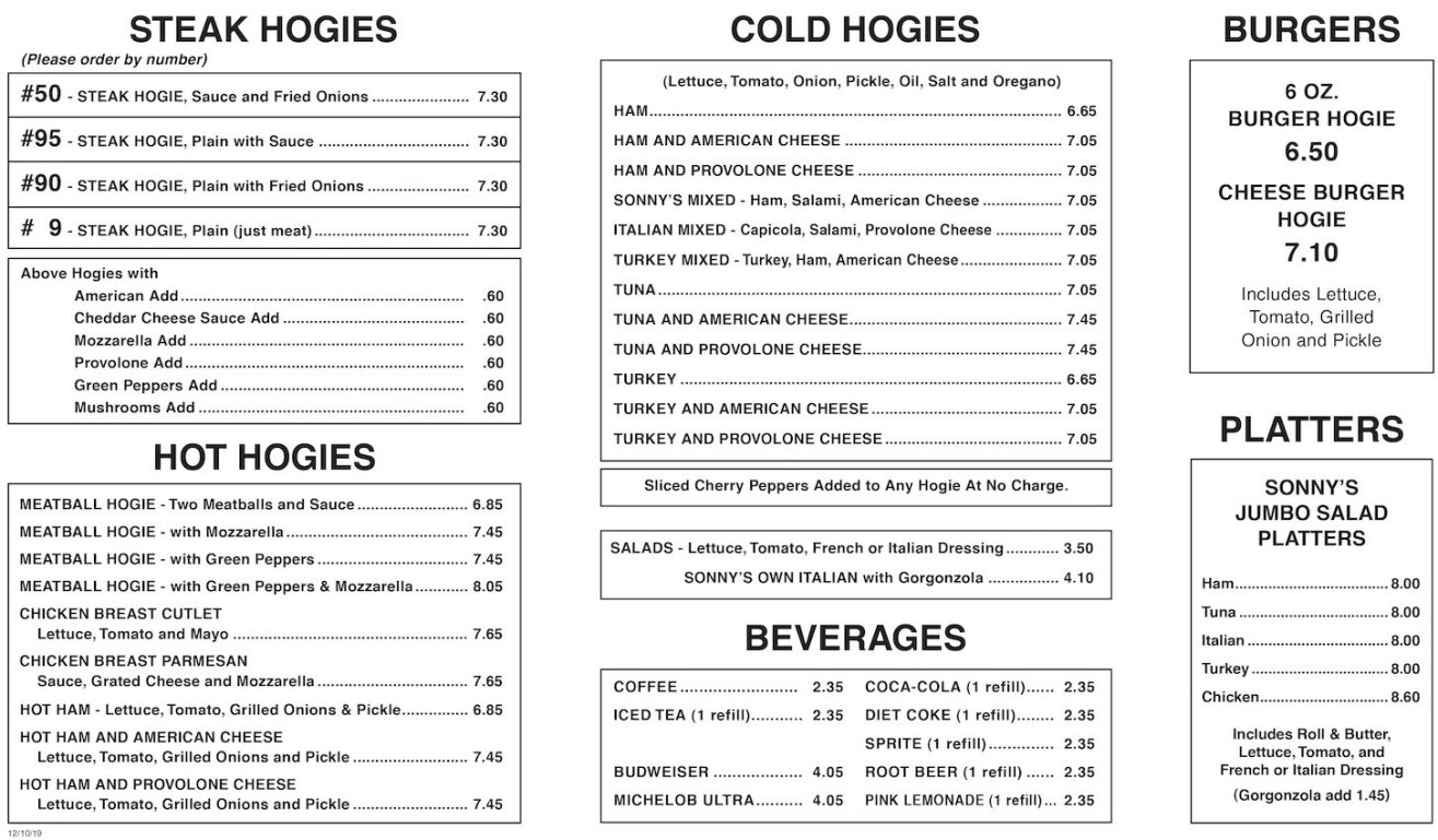 Sonny's Steak Hogies Printed Menu Page 2