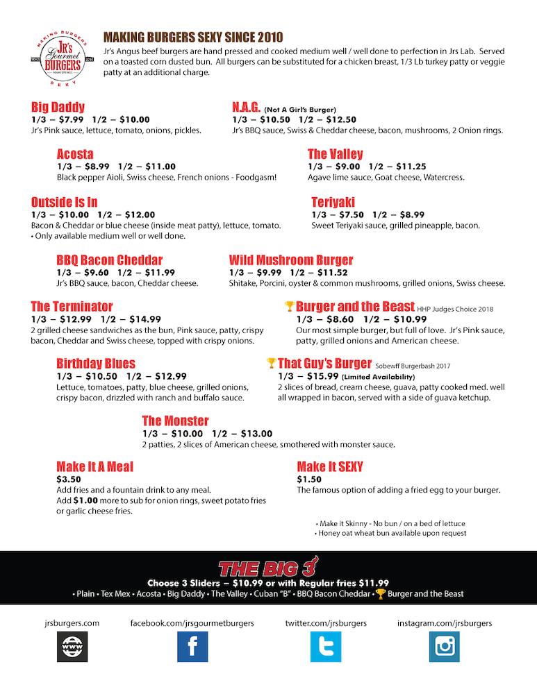 Jr's Gourmet Burgers Menu Page 1