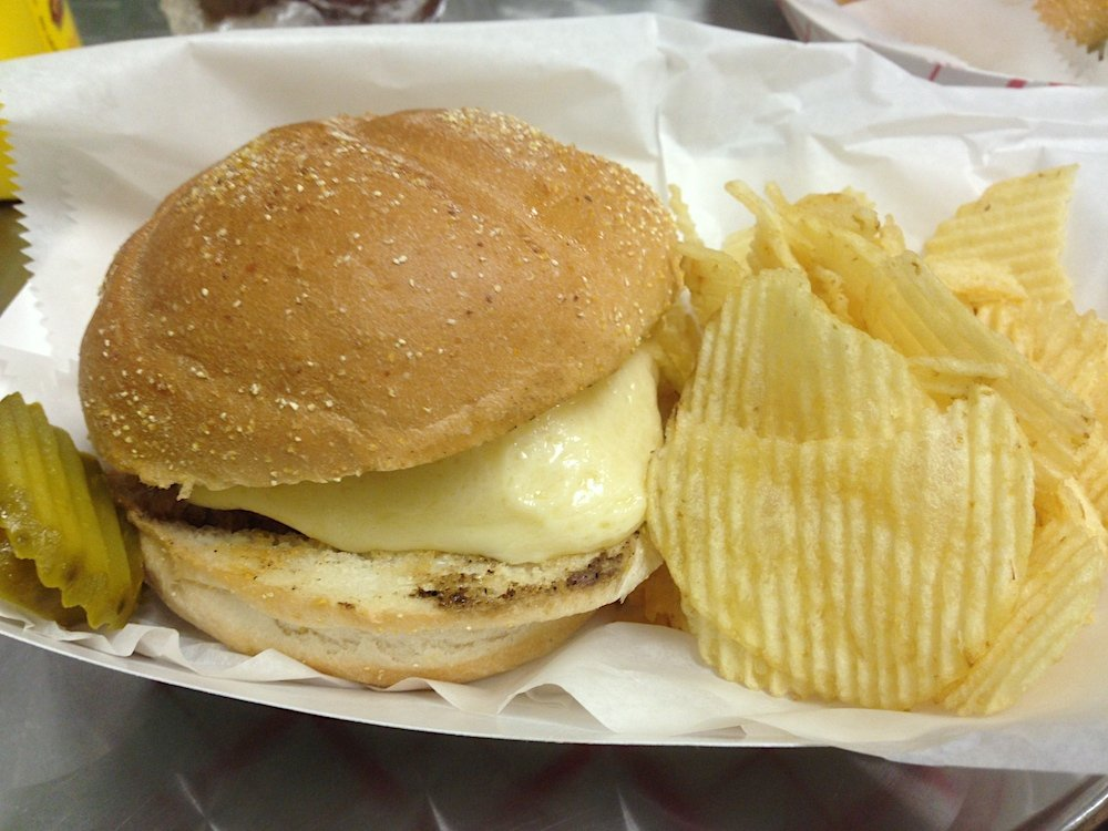 Captain John's Steamed Cheeseburger with chips