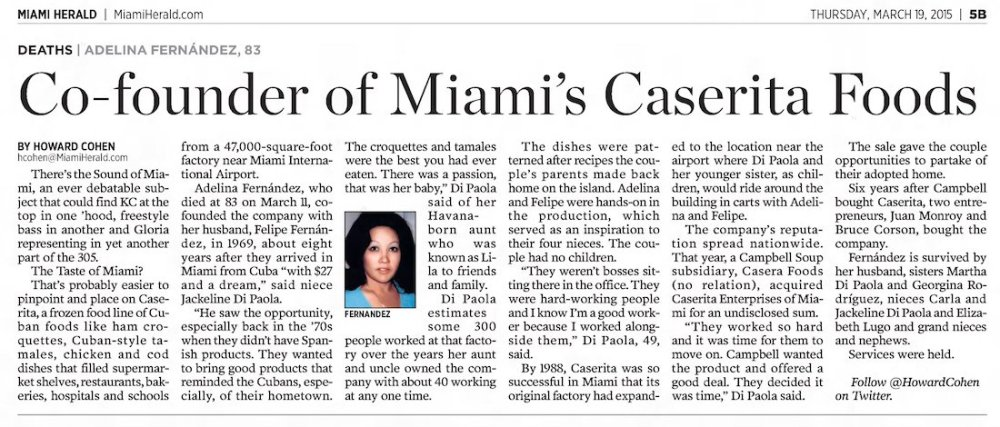 Caserita Co-Founder Passes Away in The Miami Herald 3-19-15