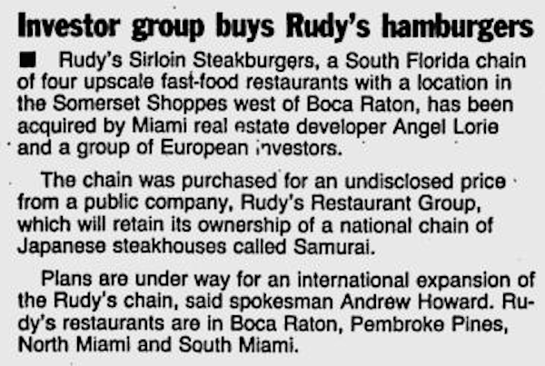 Story in Boca Raton News from January 29, 1991