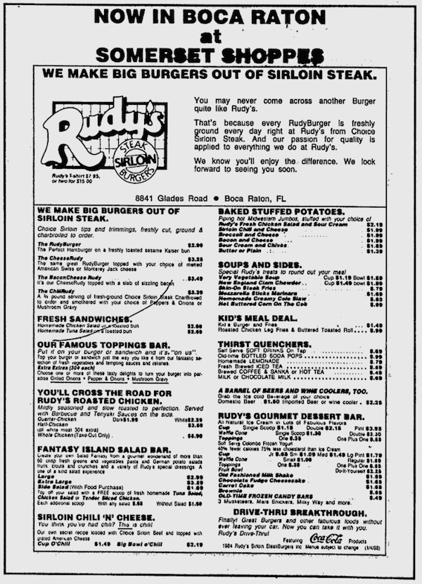 Rudy's Menu Ad from the Boca Raton News - March 10, 1988
