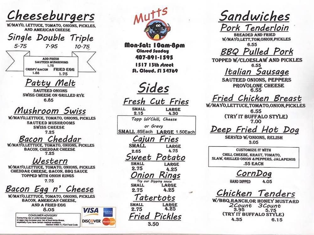Mutt's on 13th Menu