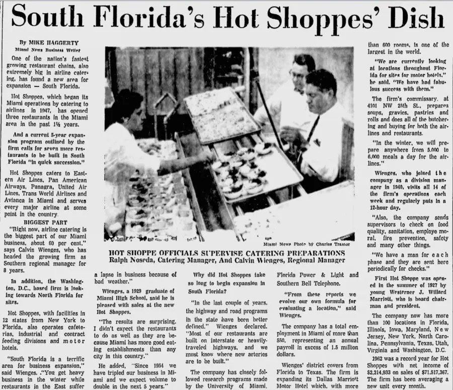 Hot Shoppes from The Miami News - April 7th, 1963
