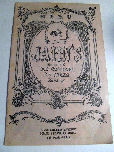 Jahn's Old Menu