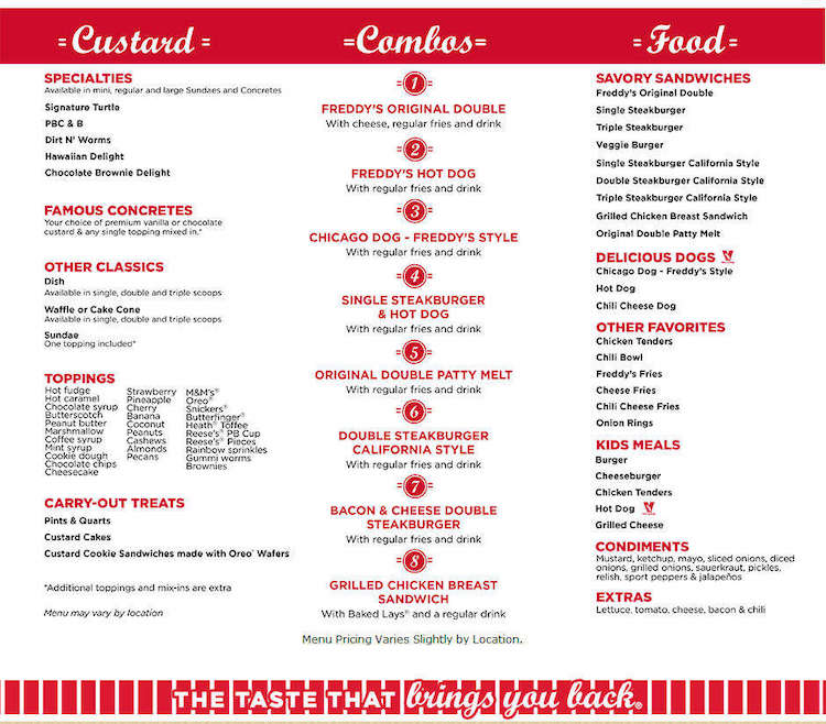 Freddy's Frozen Custard & Steakburger Menu
